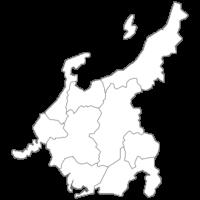 中部地方の白地図イラスト画像