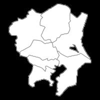 関東地方の白地図イラスト画像