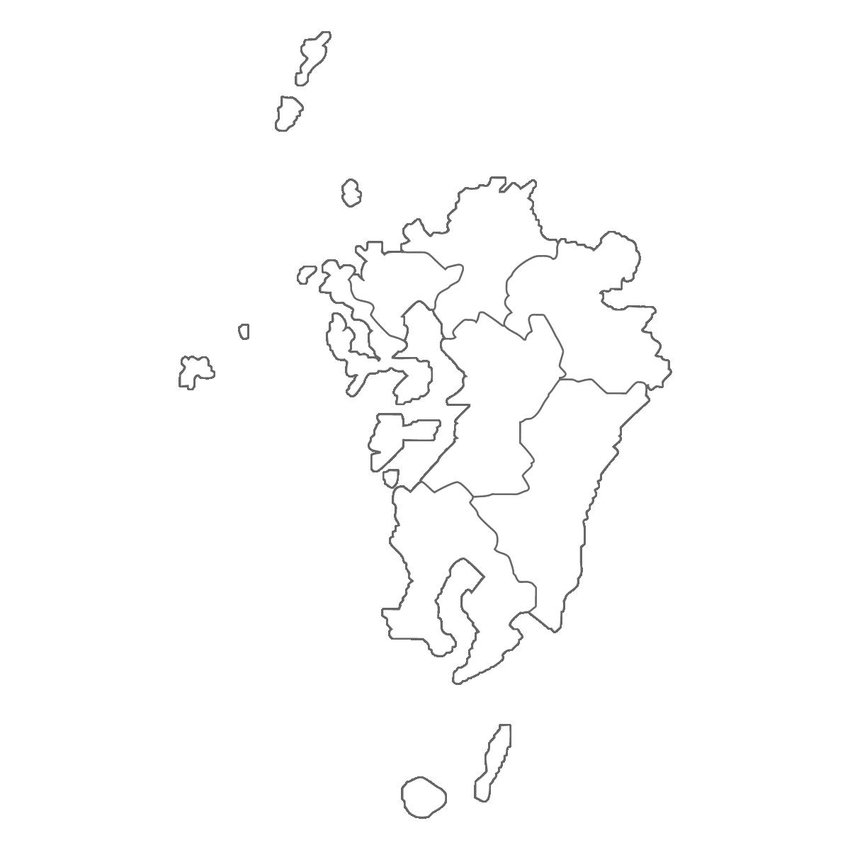 九州地方の白地図イラスト画像