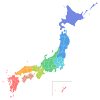 日本地図のイラスト画像<地方区分色分け>
