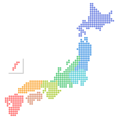 日本地図のドットイラスト画像<地方区分色分け>