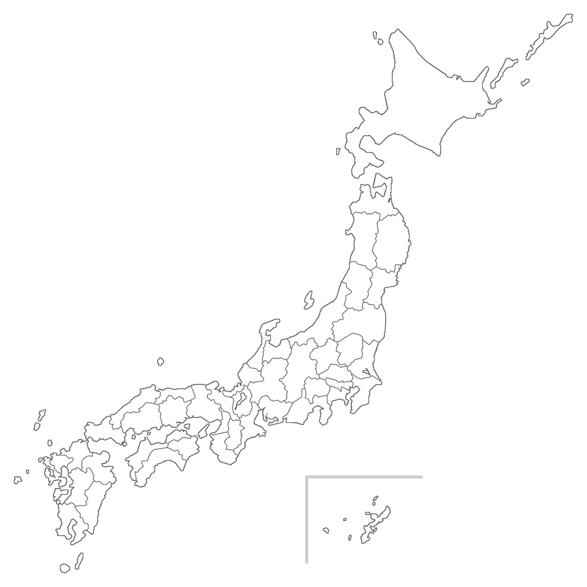 日本地図(白地図)のイラスト画像