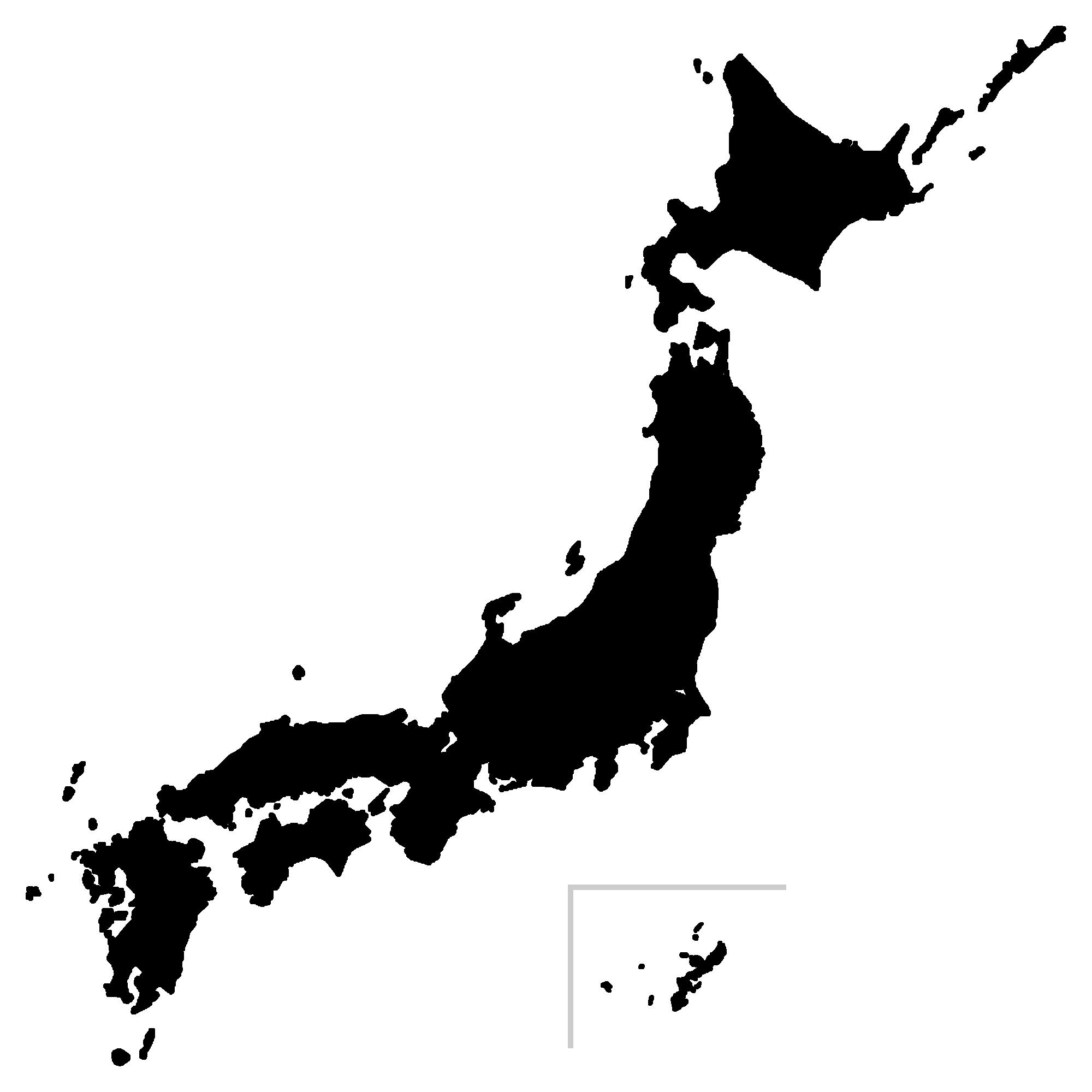 日本地図のシルエット(モノクロ・白黒)イラスト画像
