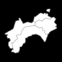 四国地方の白地図イラスト画像