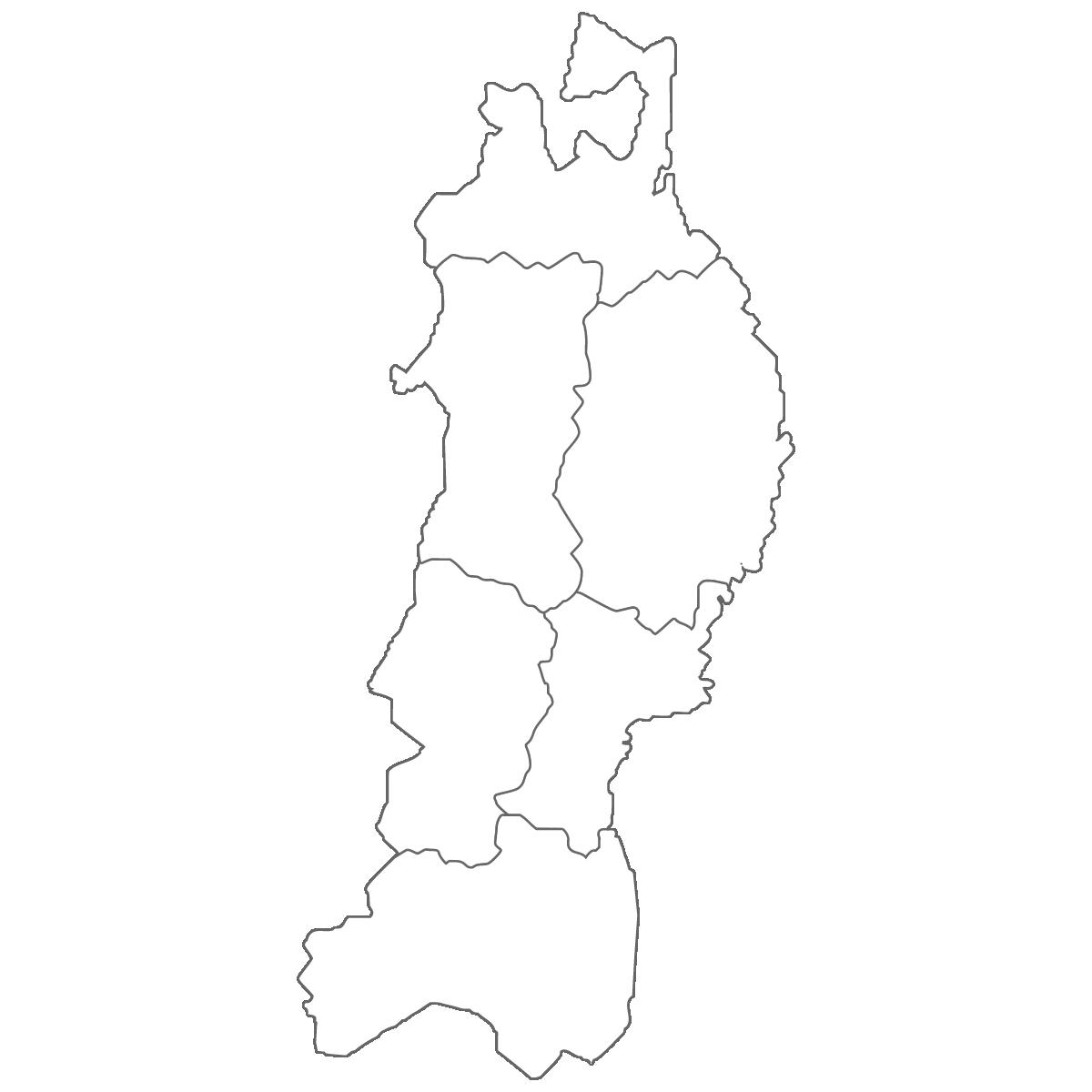 東北地方の白地図イラスト画像